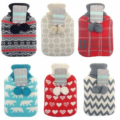 2 L hot water bottle with cover warm soft knitted pom pom cover winter warm