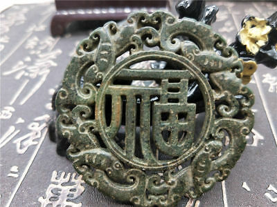 Old China Hand-carved jade Pendant worn aristocratic art collection B121