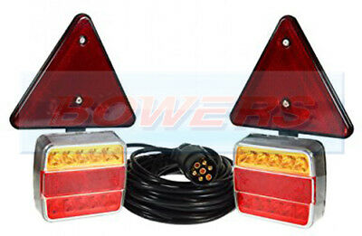 Waterproof 12V Magnetic Led Trailer Towing Lights Lamps Triangles With 6M Cable