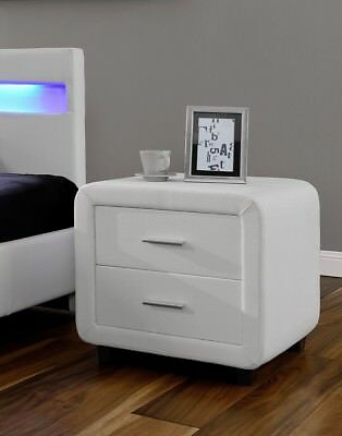 White Romero Faux Leather Bedside Table-Cabinet-Night Stand - 2 Drawers