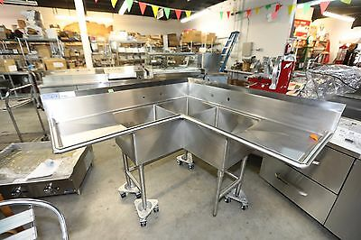 NEW 18X18x12 Corner 3 Comp.Stainless Steel Sink NSF / SS Legs/ 16 gauge
