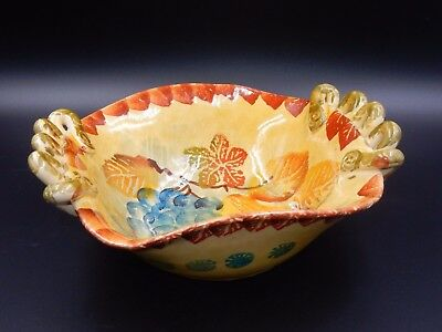 Gorgeous Italica Ars Hand Painted Grape & Leaves Pottery Bowl ~ Made In Italy