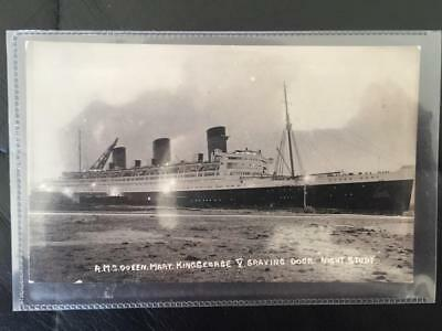 Cunard White Star Line Rms Queen Mary Rare King George V Dry Dock Night Postcard