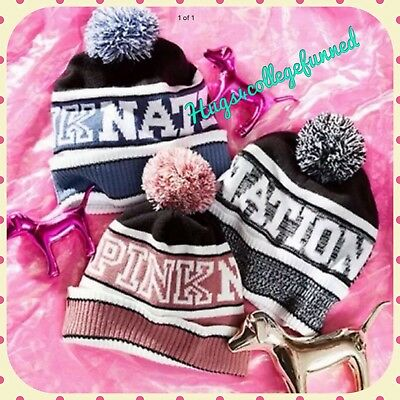 NEW Victoria's Secret VS PINK NATION Beanie Stocking Hat Cap Choice of Color!