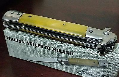 Italian Stiletto Pocket Knife W/ Vintage Yellow Handles !!!