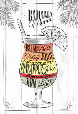 Metal Vintage Retro Cocktail Recipes Tin Sign Wall Plaque / Fridge Magnet Bar