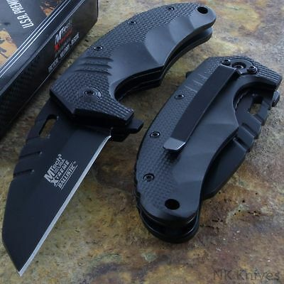 MTECH XTREME Spring Assisted Tactical Black Pocket Knife Titanium Blade Rescue