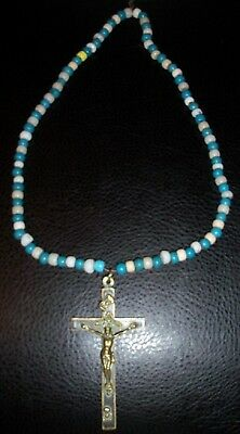 """Vintage Antique 1800'S INDIAN TRADE BEAD NECKLACE w 4.5"""" BRASS CRUCIFIX CROSS"""