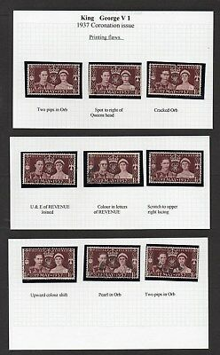 George VI 1937 Coronation SG461 x 9 Used With Small Printing Flaws Etc See Notes