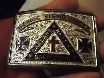 "Vint Knights Templar Oakland Iron Cross Belt Buckle, ""in Hoc Signo Vinces"", Cal"