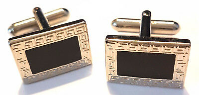 "Fashion Silver & Black Cufflinks - Men""s Suit Wedding Party Gift Cuff Jewellery"