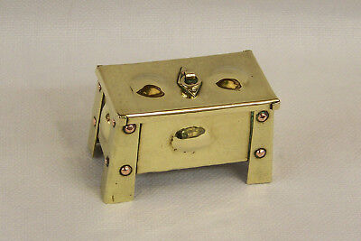 Small Antique Arts & Crafts Brass & Copper Jewellery Trinket Box Trunk Or Coffer