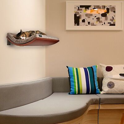 wall mounted cat bed, floating cat shelf, brown cat bed, pet furniture, pet bed