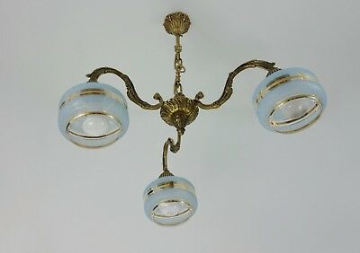 Antique Art Deco Bronze + Glass Chandelier From France 1920s/30s