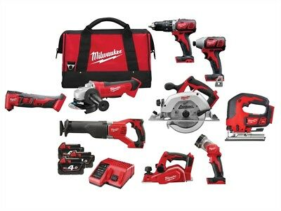 Milwaukee M18 9 Piece Tradesmans Power Pack 3 x 4.0Ah Li-Ion