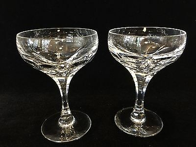 "Pair of Vintage French Crystal Cut Glass Champagne Sherbet Glasses, 5 1/3"" Tall"