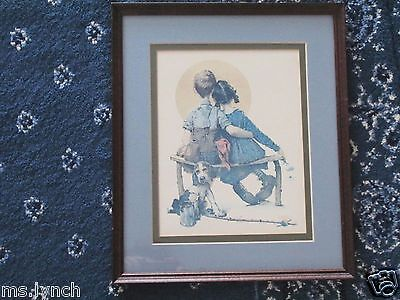 Norman Rockwell Little Spooners or Sunset Print--Matted