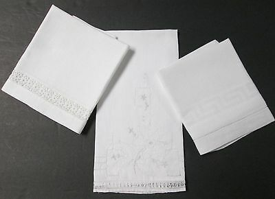 Lot of 3 Antique White Linen Towels Crocheted Trim, Embroidery, Cutwork