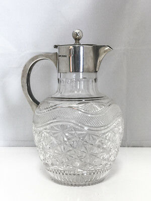 1907 Mark Willis & Son, Edwardian Sterling Silver Mounted Cut Glass Claret Jug