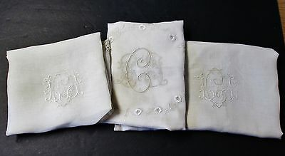 Fabulous 3 Linen or Silk Lawn Pillow Covers H C L Monograms Ornate Embroidery