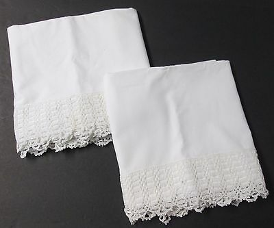 Antique Pillow Case Pair Deep Hand Crocheted Trim Shell Stitch