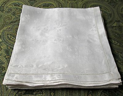 12 Antique Linen Damask Napkins Roses & Lily of the Valley Florals Hemstitched