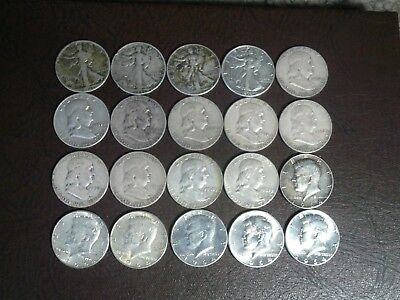 $10 Face Walking Liberty Franklin Kennedy Half Dollars 90% Silver 20 Coin Roll