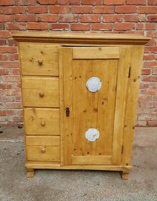 Antique Pine Bread Cupboard/dresser Four Drawer One Door Vents Great Condition