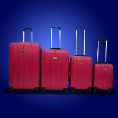 New DeBox 4PCS Luggage Travel Set Bag ABS Trolley Suitcase w/ Lock Hot Pink
