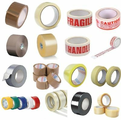 STRONG PACKING TAPE - BROWN / CLEAR / FRAGILE 48mm x 90M  PARCEL SEAL TAPE Rolls