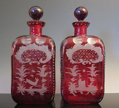 Antique Pair Czech Bohemian Ruby Red Flash Glass Decanters Bottles