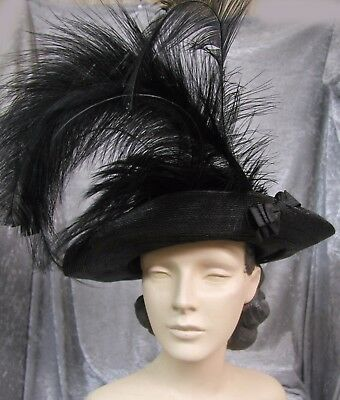 #17178, Exotic 1900 Black Straw and Feather Hat