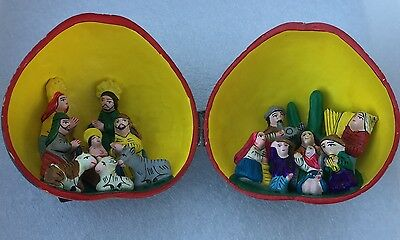 Christmas Nativity Hand Carved Gourd Made In Peru Folk Art FREE SHIPPING