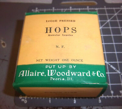 Vintage Allaire Woodward & co loose pressed HOPS 1900s Pharmacy New unopened box