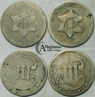 Lot of 2: 1852 & dateless 3cs Three Cent Silver Pieces rare old type coins money