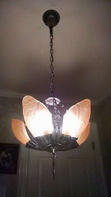 Art Deco Lincoln Fleurette Slip Shade Light Fixture Chandelier Restored