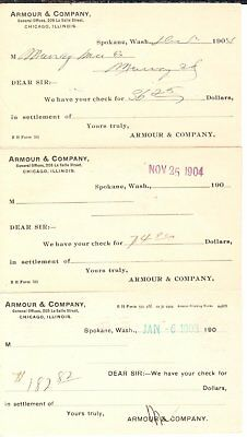 1904 Armour & Co. rec'pts; Spokane to (gold mining town), Murray, ID