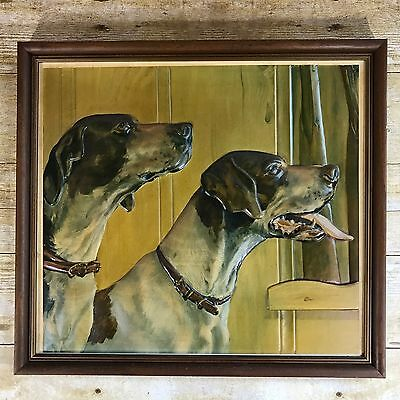 Vintage Hunting Dogs Picture Pointer Cabin Lodge Decor Mancave 1960's 1970's