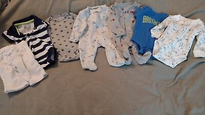 Infant Baby Boy's Newborn Lot 7 pieces Carter's onsies pants sleepers