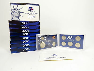 9 Year Lot Us United States Mint Proof Sets 2008 - 1999 State Quarters + Dollars