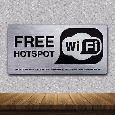 Brushed Metal Professional FREE WIFI Restaurant Hotel Bar Cafe Sign Personalised