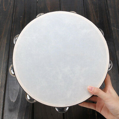 KQ_ 10 inches Faux Leather Head Drum Tambourine Party Percussion Instrument Reli