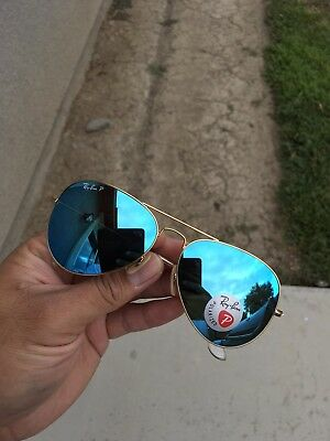 New Ray-Ban Rb3025 112/4L 58MM Blue Flash POLARiZED Aviator Sunglasses