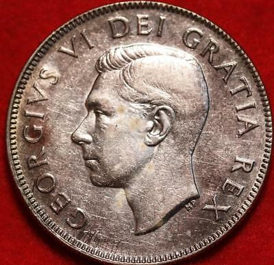 Uncirculated 1950 Canada 50 Cents Silver Foreign Coin Free S/H
