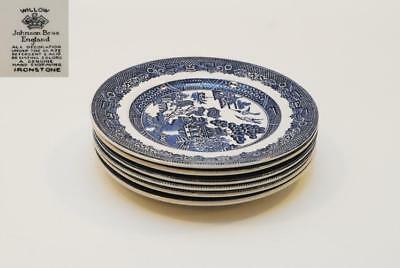 6 Johnson Brothers Blue WILLOW Bread Plate Plates 6 Inch