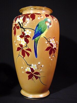 Mid Century Lusterware Flower Vase Parakeet Perched on Cherry Blossom Tree