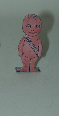 Cracker Jack Premium Prize Lithographed Tin Standee Baby Doll 1920s
