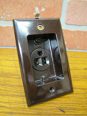 Vintage New Old Stock Eagle Bakelite Clock Hanger Outlet Recessed Brown