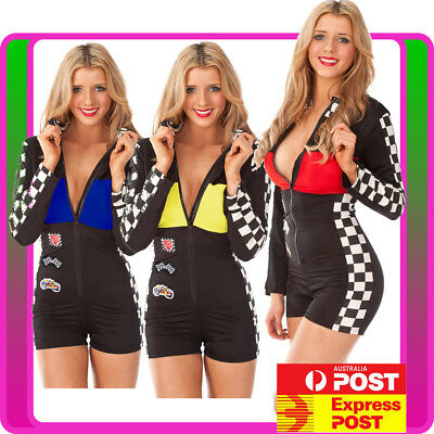 Ladies Miss Racer Racing Sport Driver Costume Super Car Grid Girl Fancy Dress