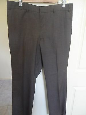 Fletcher Jones Pure New Wool Brown English Style Trousers- Suit Size 32 To 34